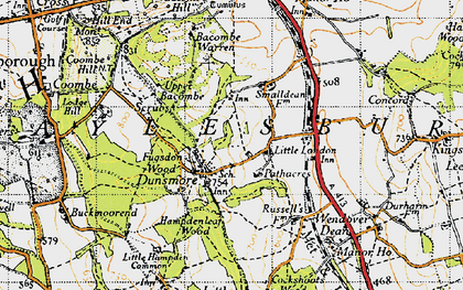 Old map of Bacombe Warren in 1947