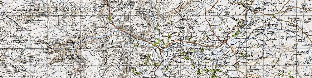Old map of Dunsop Bridge in 1947