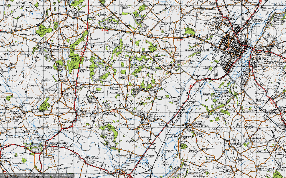 Old Map of Historic Map covering Bannister's Hollies in 1946