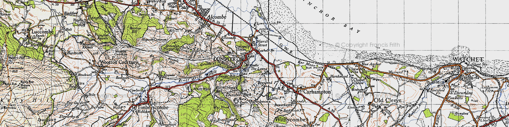 Old map of Dunster in 1946