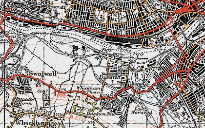 Old map of Dunston in 1947