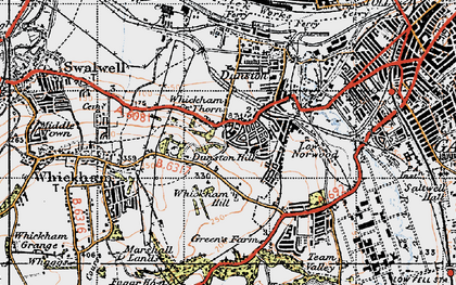 Old map of Whickham Thorns in 1947