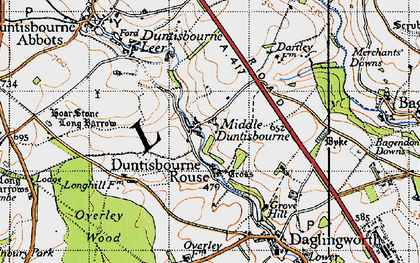 Old map of Duntisbourne Rouse in 1946