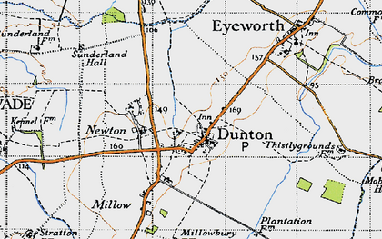 Old map of Dunton in 1946