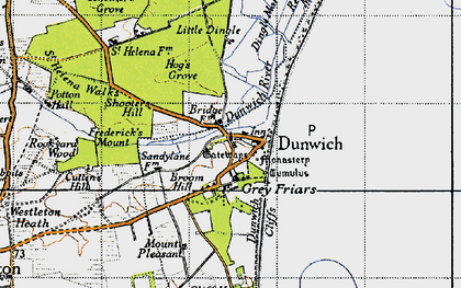 Old map of Dunwich in 1946