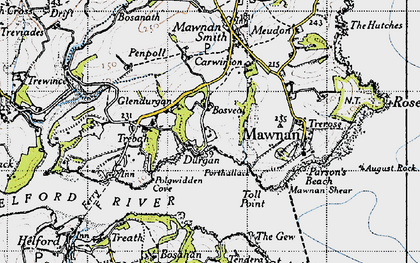 Old map of Durgan in 1946