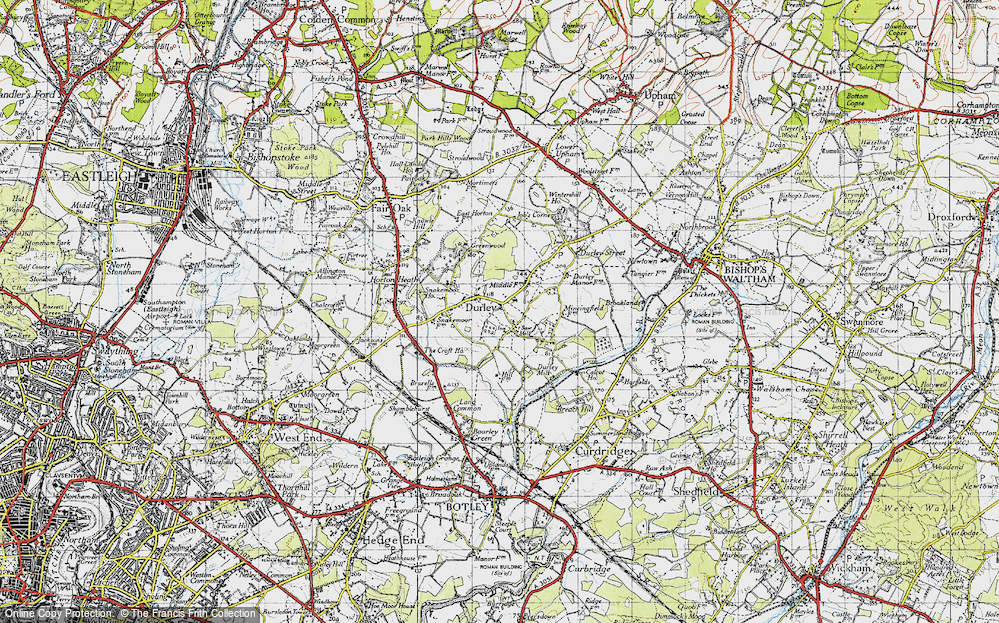Old Map of Durley, 1945 in 1945
