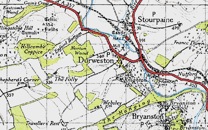 Old map of Durweston in 1945