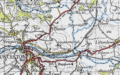 Old map of Dutson in 1946
