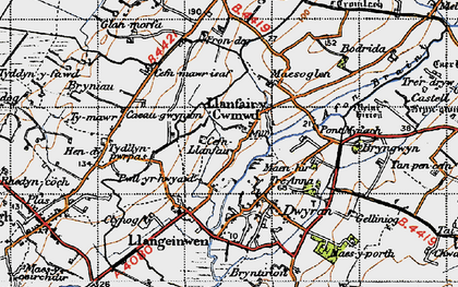 Old map of Dwyran in 1947