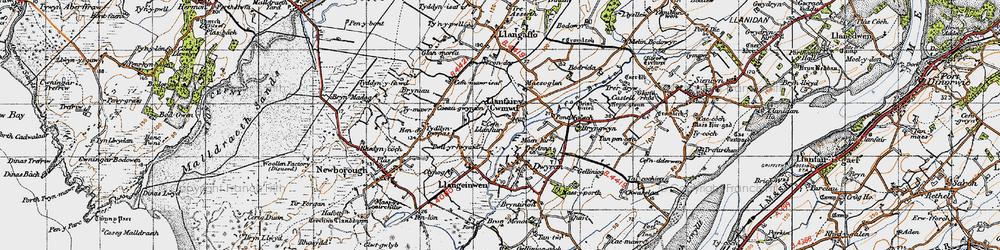 Old map of Dwyran in 1947