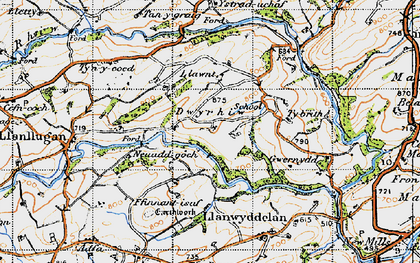 Old map of Lawnt in 1947