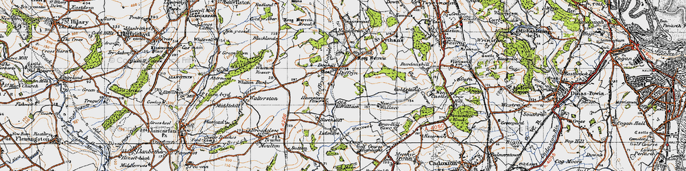 Old map of Whitton Mawr in 1947