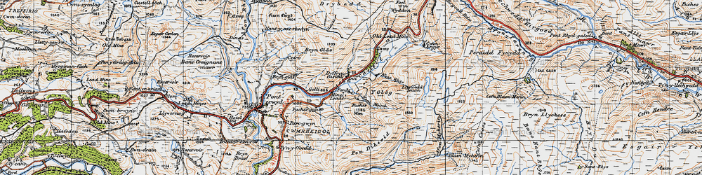 Old map of Afon Castell in 1947
