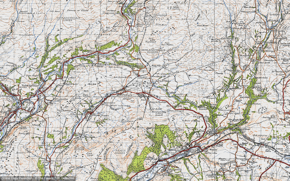 Old Map of Historic Map covering Banwen Pyrddin in 1947