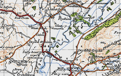 Old map of Dyffryn Dysynni in 1947