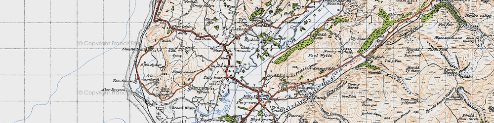 Old map of Dyffryn Dysynni in 1947