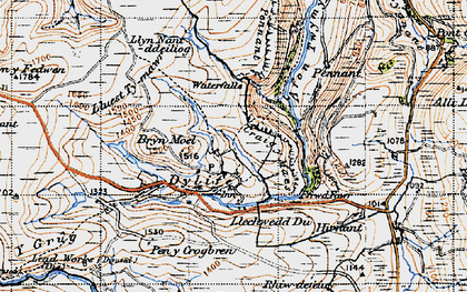 Old map of Banc y Cwn in 1947