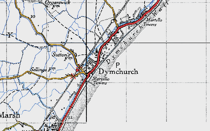 Old map of Dymchurch in 1940