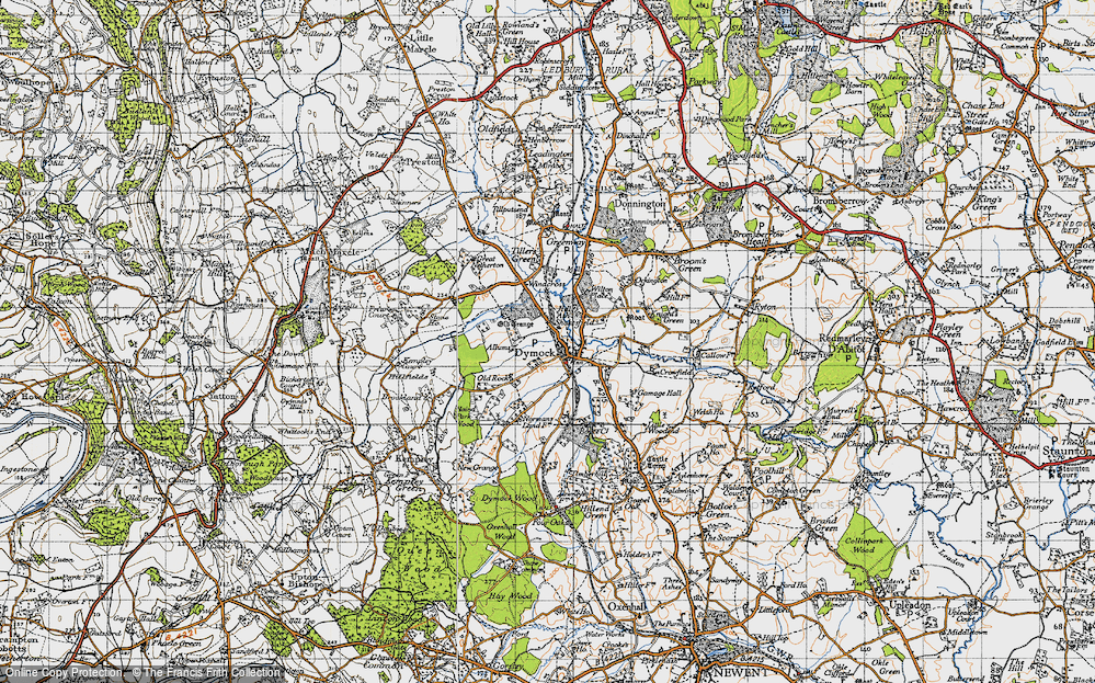 Old Map of Historic Map covering Allums in 1947