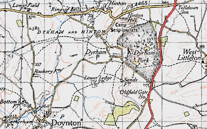 Old map of Dyrham in 1946