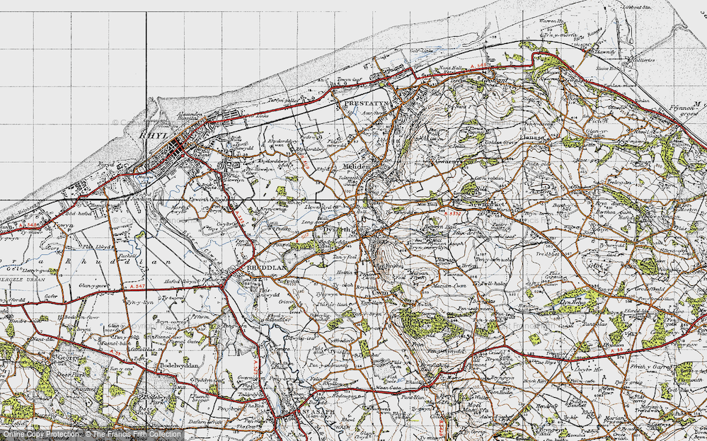 Old Map of Historic Map covering Aberkinsey in 1947