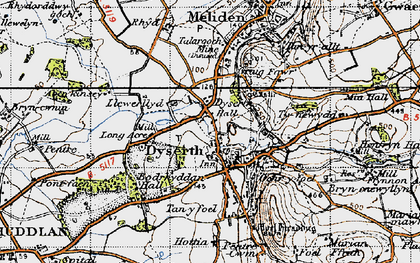 Old map of Aberkinsey in 1947