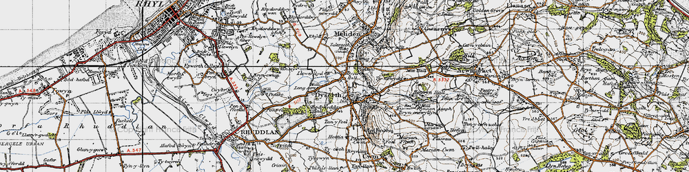 Old map of Dyserth in 1947