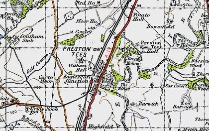 Old map of Eaglescliffe in 1947