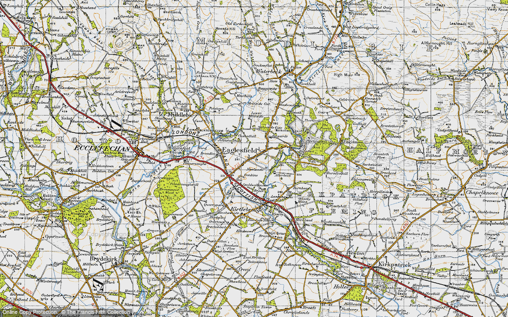 Old Map of Historic Map covering Ashyards Gate in 1947