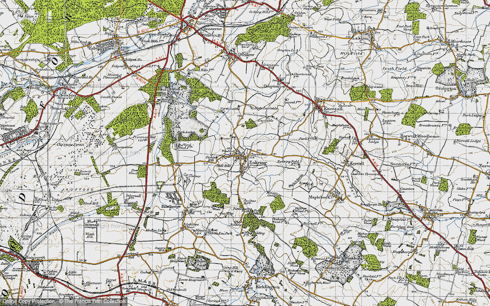 Old Map of Historic Map covering Leyfields in 1947