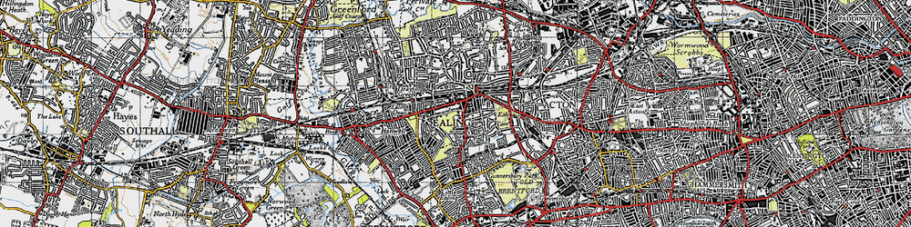 Old map of Ealing in 1945