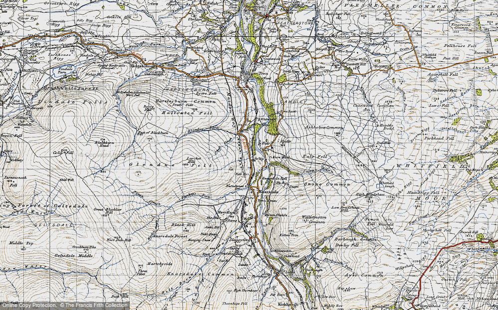 Old Map of Historic Map covering Ashholme Common in 1947