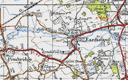 Old map of Eardisland in 1947