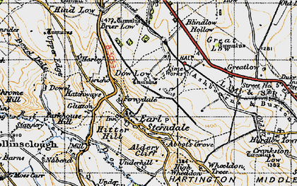 Old map of Earl Sterndale in 1947