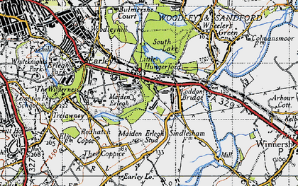 Old map of Earley in 1940