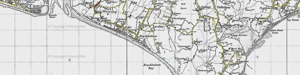 Old map of Almodington in 1945