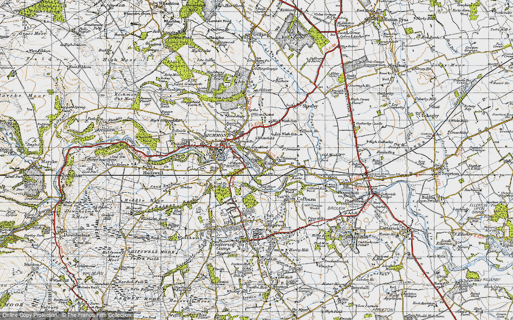 Old Map of Easby, 1947 in 1947