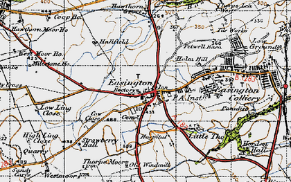 Old map of Easington in 1947