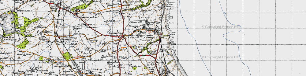 Old map of Easington Colliery in 1947