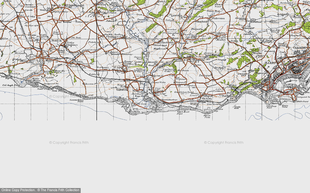 Old Map of East Aberthaw, 1947 in 1947