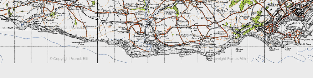 Old map of East Aberthaw in 1947
