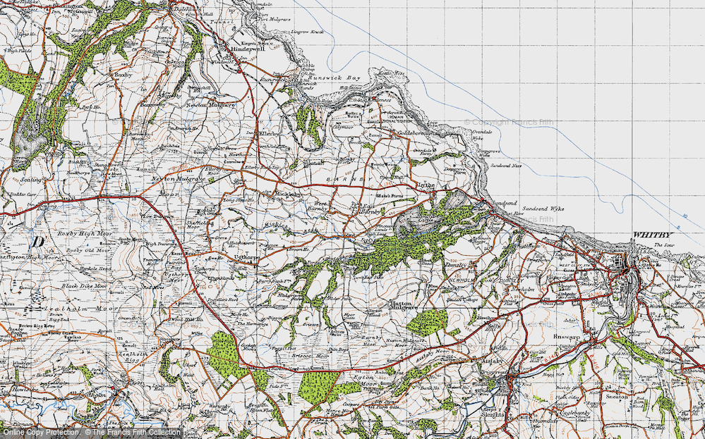 Old Map of Historic Map covering Allerton Head in 1947