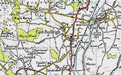 Old map of East Budleigh in 1946