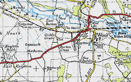 Old map of East Burton in 1945