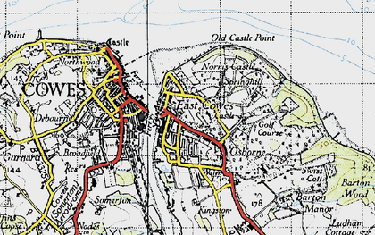 Old map of East Cowes in 1945