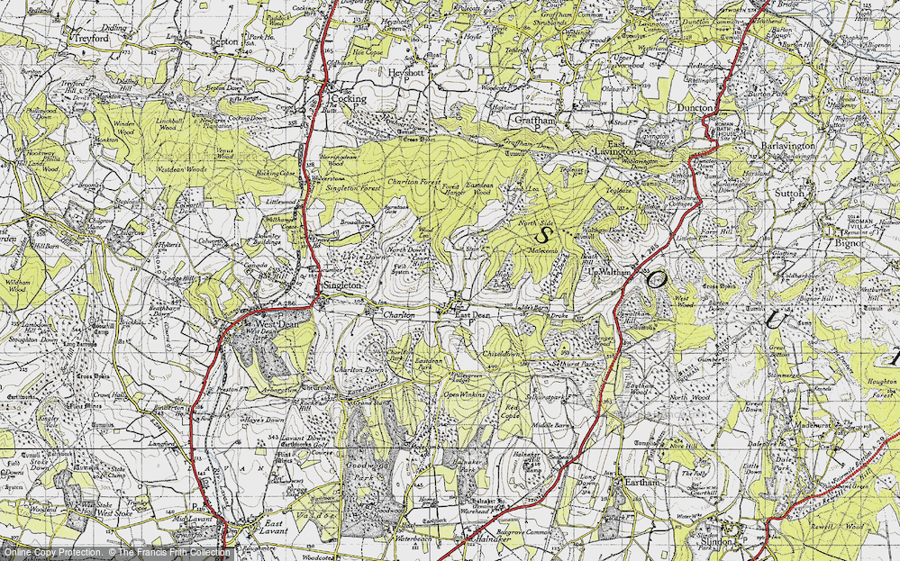 Old Map of Historic Map covering Wood Lea in 1940