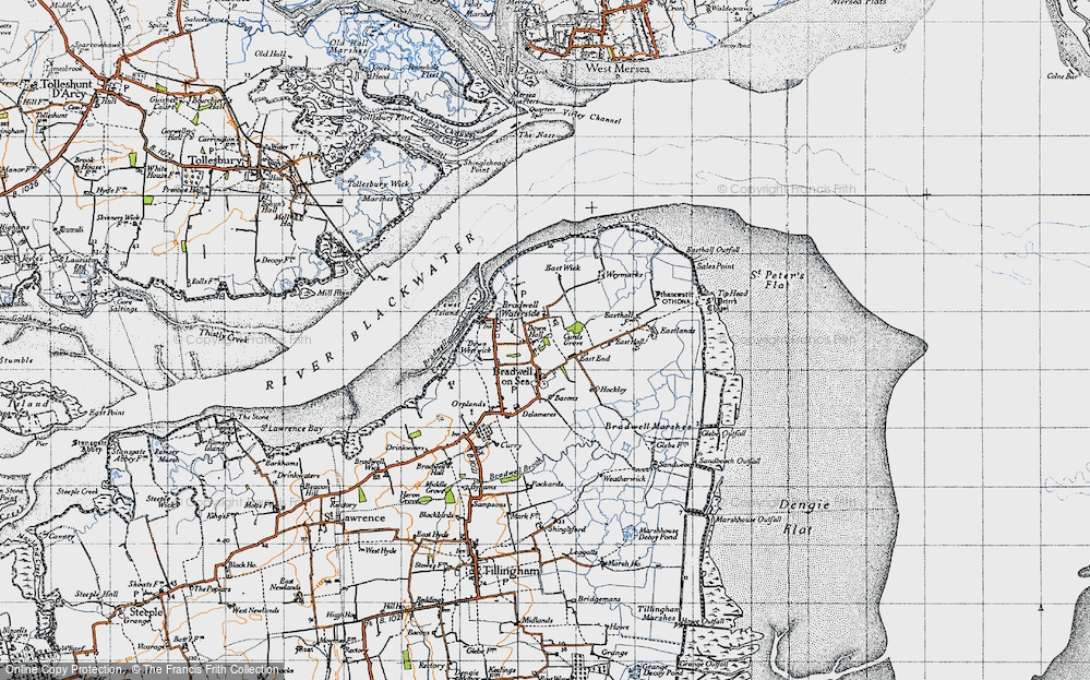 Old Map of Historic Map covering Tip Head in 1945
