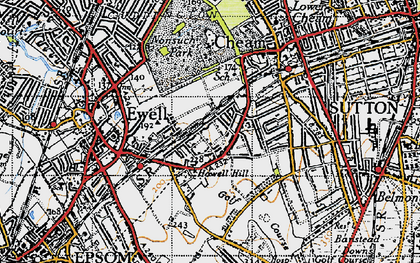 Old map of East Ewell in 1945