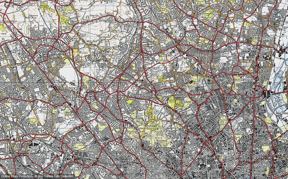Old Map of East Finchley, 1945 in 1945